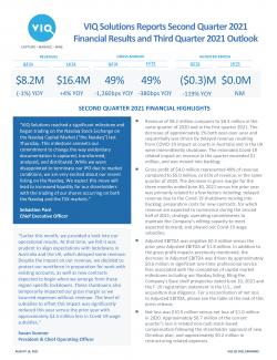 VIQ Q2 2021 Graphic Earnings Release